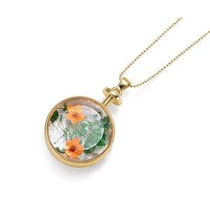 Intrigue Goldfarbig, Grün, Orange Halskette mit Trockenblumen