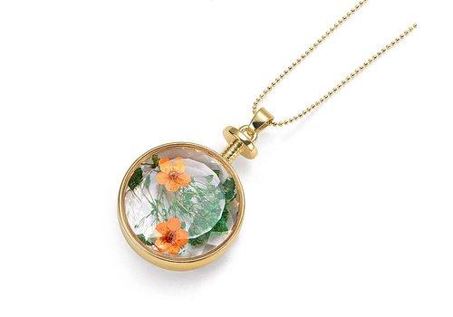 Intrigue Goldfarbig, Grün, Orange Halskette