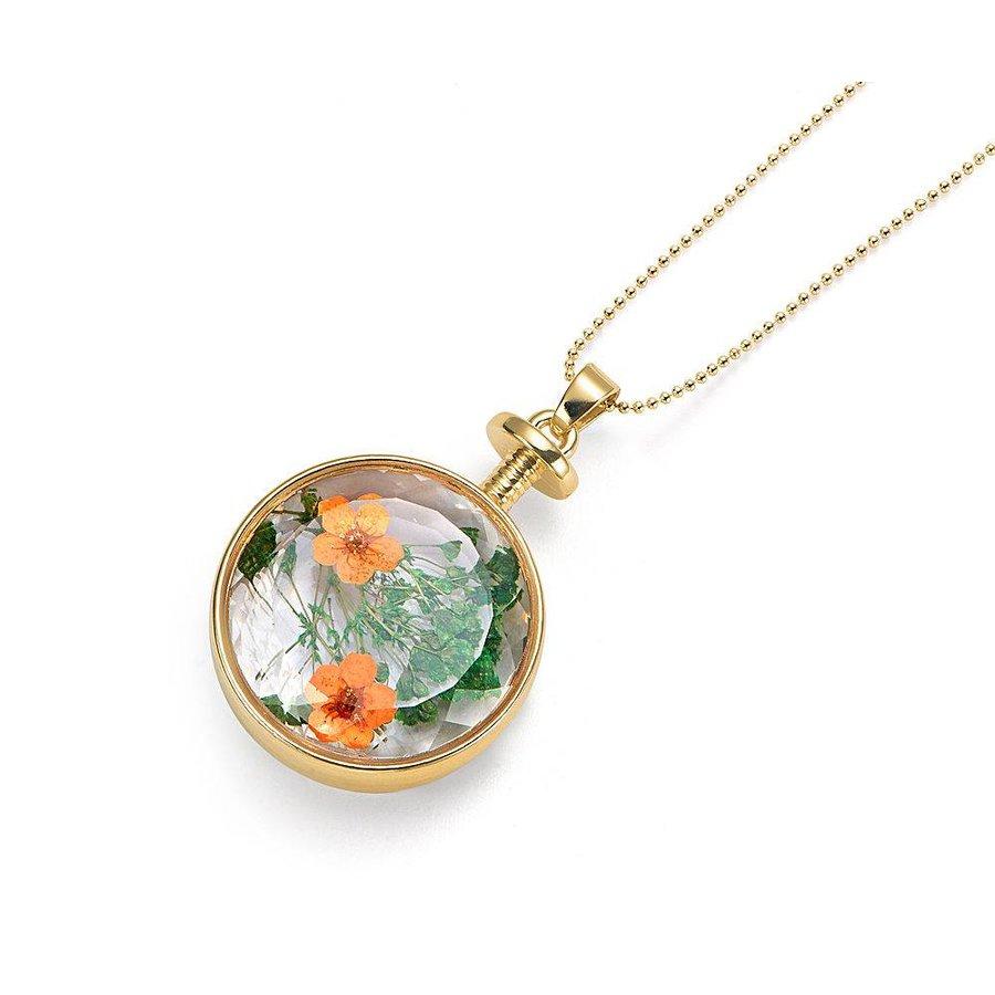 Goldfarbig, Grün, Orange Halskette mit Trockenblumen-1