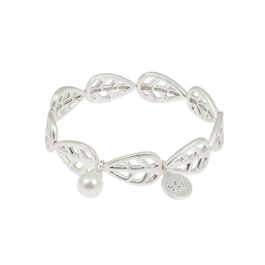 Versilbert/Weiß Gummizug Armband Mother of Pearl-1