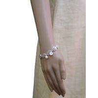thumb-Versilbert/Weiß Gummizug Armband Mother of Pearl-2