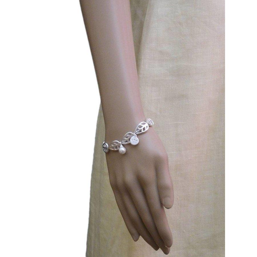 Versilbert/Weiß Gummizug Armband Mother of Pearl-2