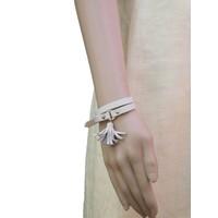 thumb-Weiß/Goldfarbige Leder Armband Schnalle verschluss-2