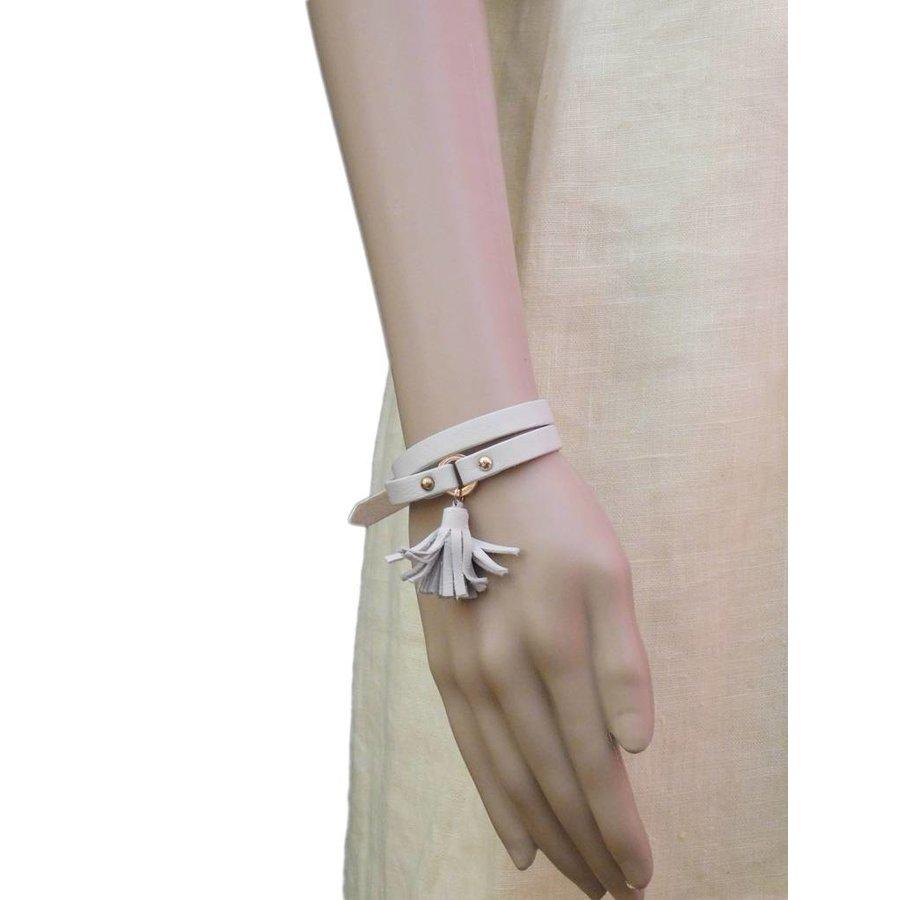 Weiß/Goldfarbige Leder Armband Schnalle verschluss-2