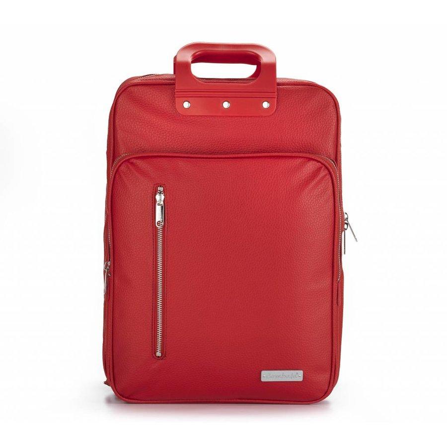 Roter Vinyl City Laptop Rucksack-1