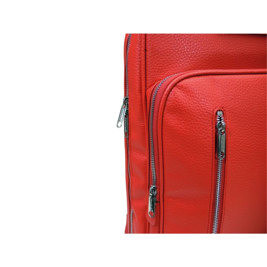 Roter Vinyl City Laptop Rucksack-2