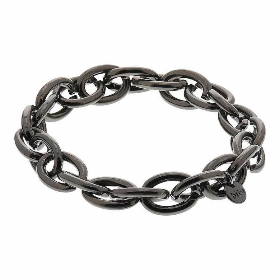 Platinfarbig (Schwarz) Gummizug Armband-1