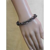 thumb-Platinfarbig (Schwarz) Gummizug Armband-2
