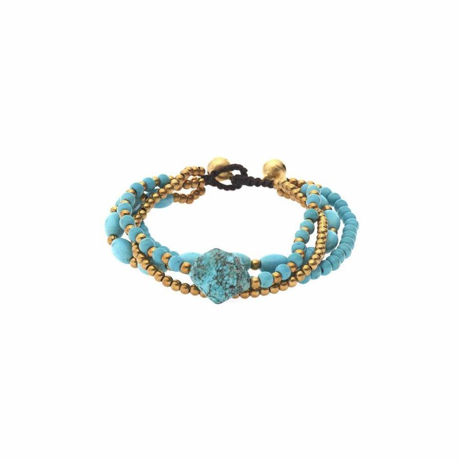 Goldfarbig/Türkis Kinder Armband mit Glöckchen-1