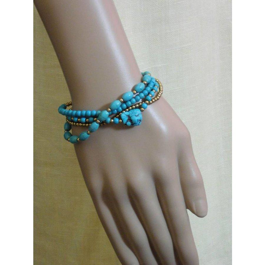 Goldfarbig/Türkis Kinder Armband mit Glöckchen-2