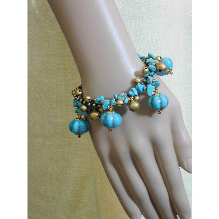 Goldfarbig/Türkis Armband mit Glöckchen-2