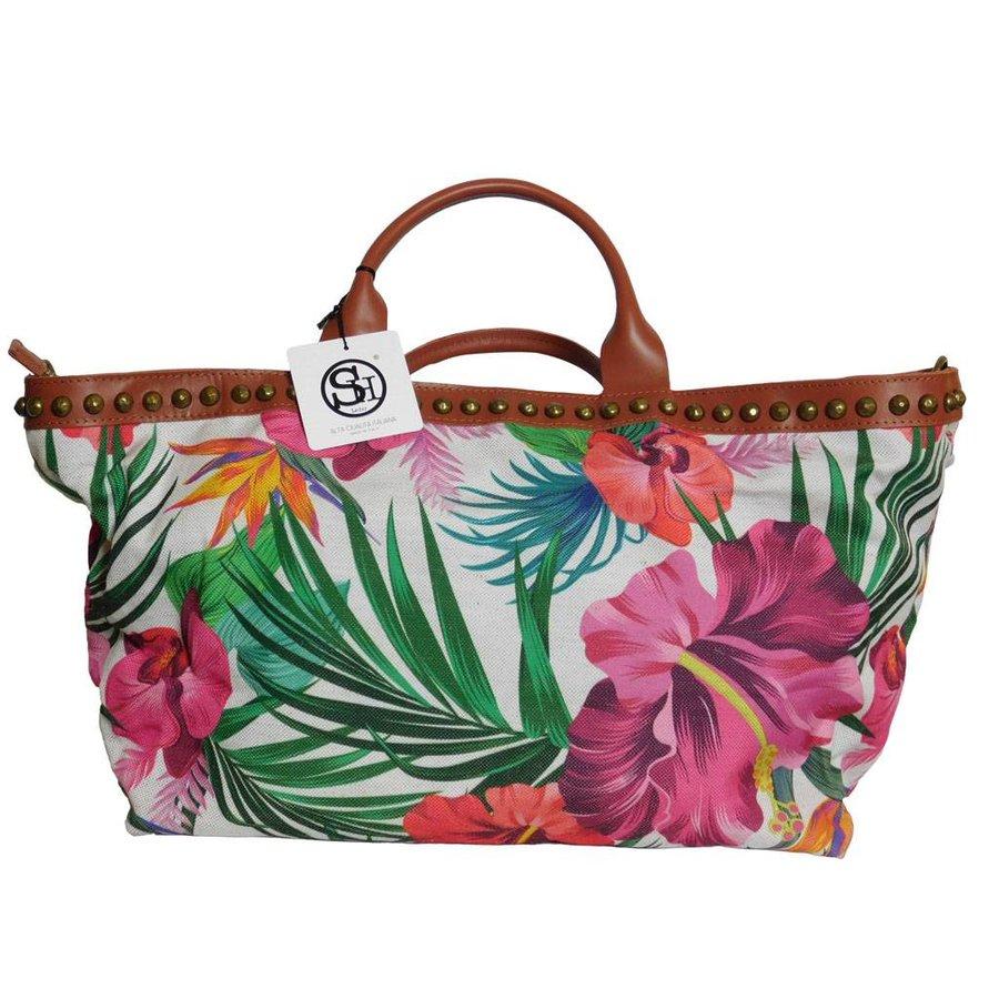 Weiß/Braune PU Handtasche mit Blumenmuster-2