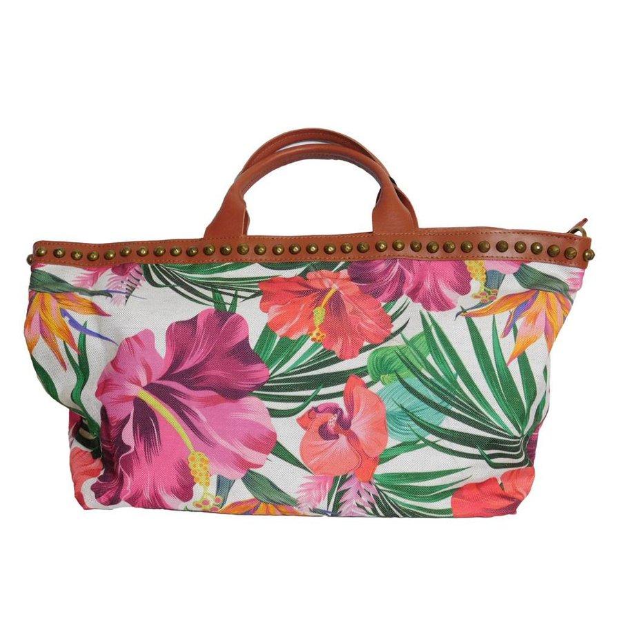 Weiß/Braune PU Handtasche mit Blumenmuster-3