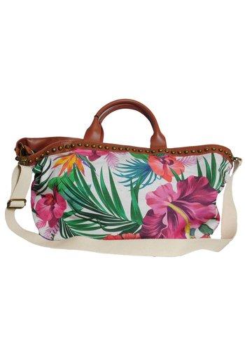 Weiß/Braune PU Handtasche mit Blumenmuster