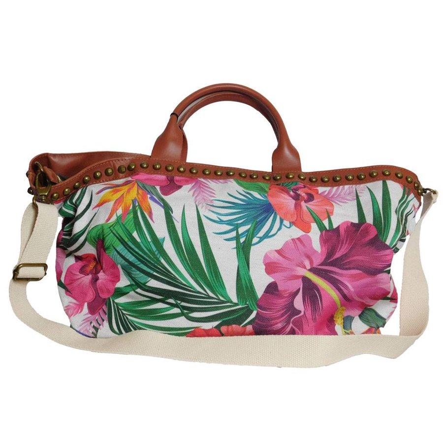 Weiß/Braune PU Handtasche mit Blumenmuster-1