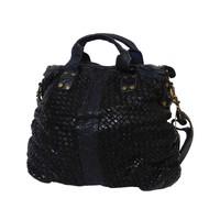 thumb-Schwarze Geflochten Leder Handtasche-3