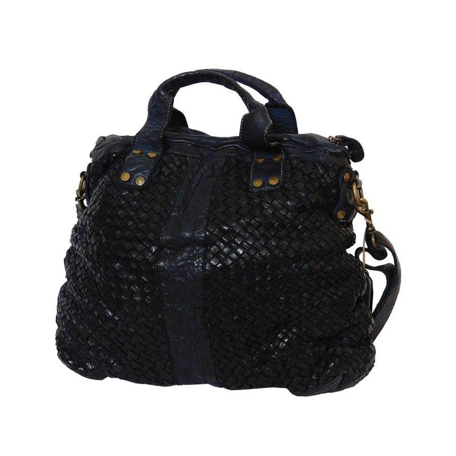 Schwarze Geflochten Leder Handtasche-3