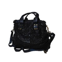 thumb-Schwarze Geflochten Leder Handtasche-2