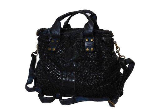 Schwarze Geflochten Leder Handtasche