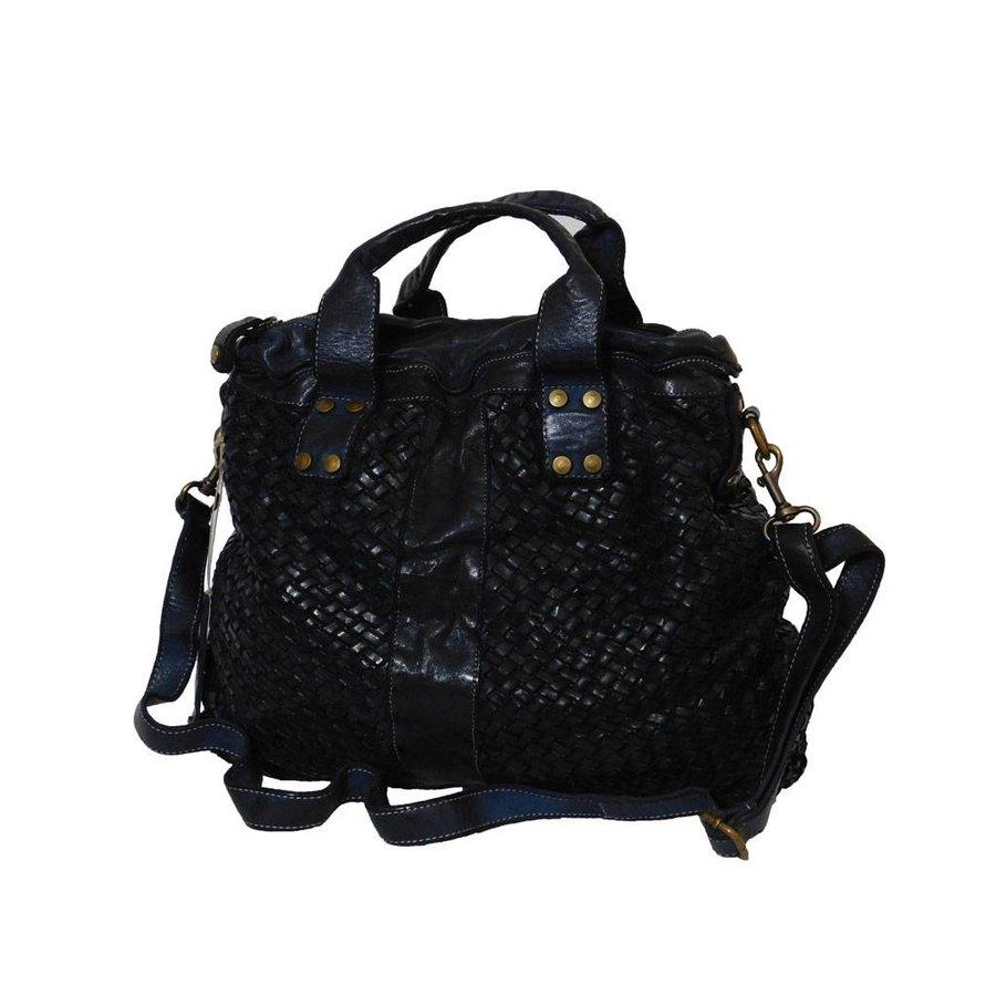Schwarze Geflochten Leder Handtasche-2