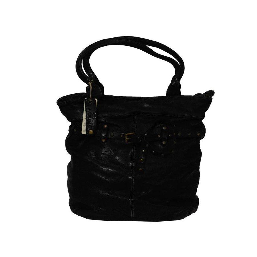 Schwarze Geflochten Leder Handtasche-1