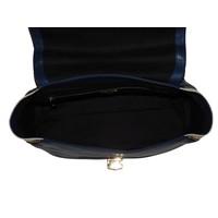 thumb-Blau/Beige Leder Handtasche-4