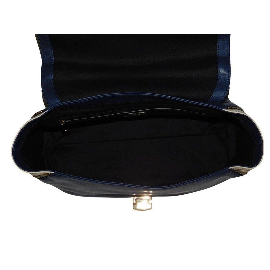 Blau/Beige Leder Handtasche-4
