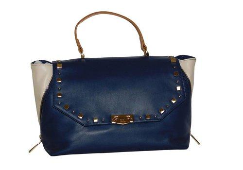 Cavalli Class Blau/Beige Leder Handtasche