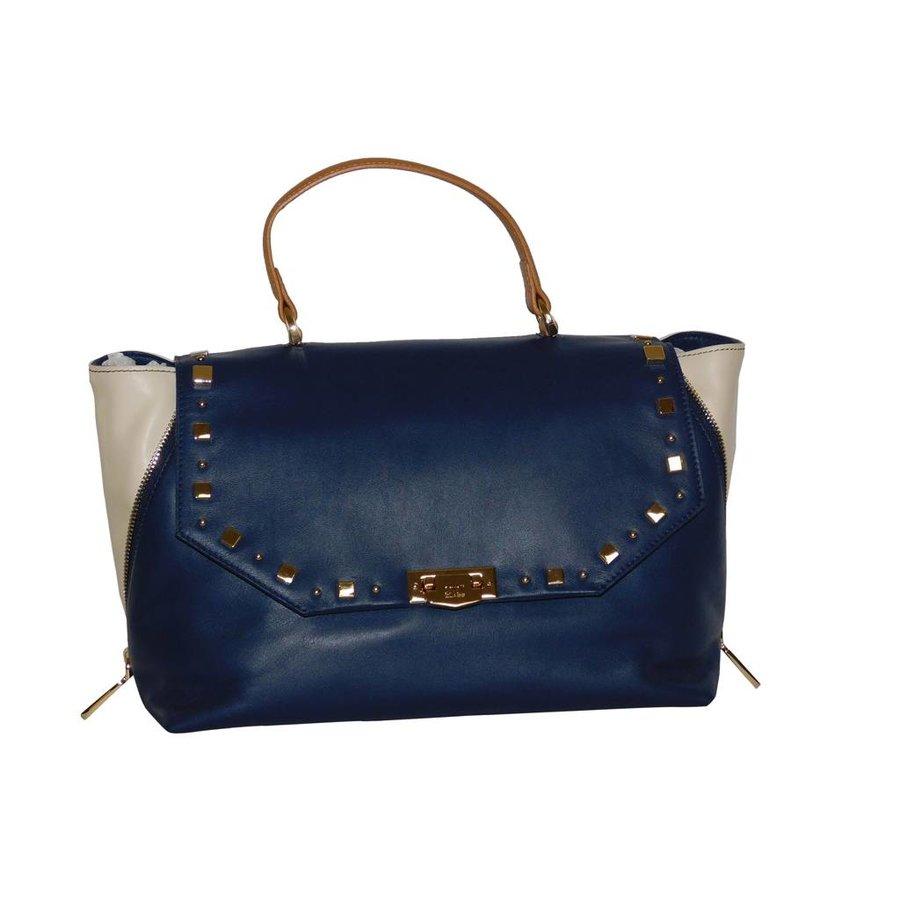 Blau/Beige Leder Handtasche-1