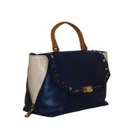 thumb-Blau/Beige Leder Handtasche-2