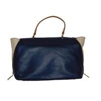 thumb-Blau/Beige Leder Handtasche-3