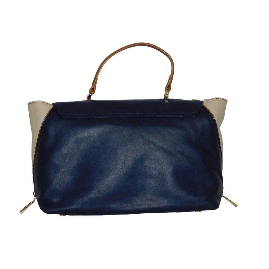 Blau/Beige Leder Handtasche-3