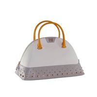thumb-Große Weiß/Grau/Orange Leder Handtasche-2