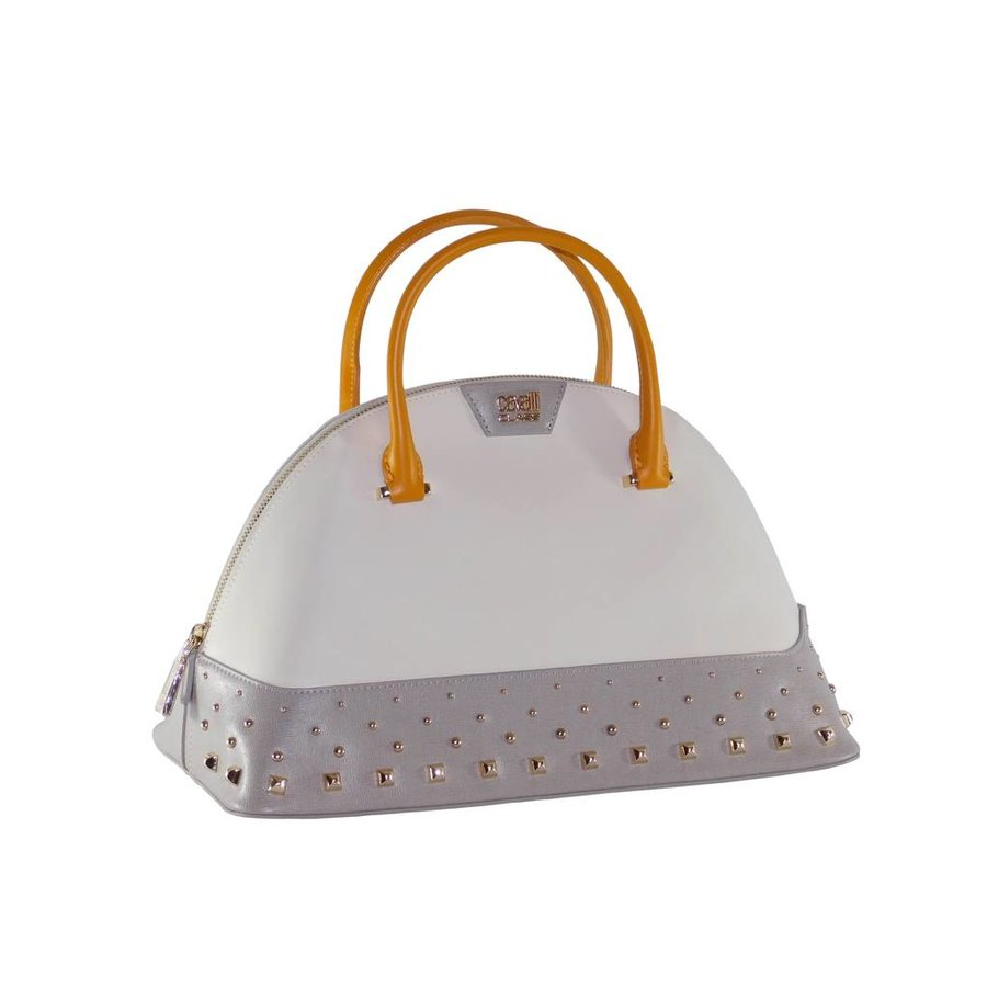 Große Weiß/Grau/Orange Leder Handtasche-2