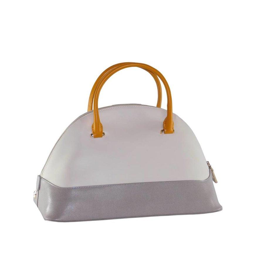 Große Weiß/Grau/Orange Leder Handtasche-4