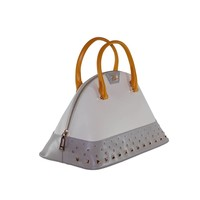 thumb-Große Weiß/Grau/Orange Leder Handtasche-3