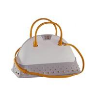 thumb-Große Weiß/Grau/Orange Leder Handtasche-1