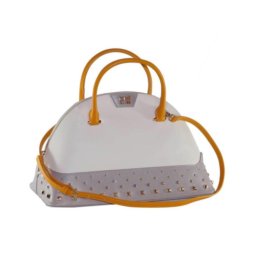 Große Weiß/Grau/Orange Leder Handtasche-1