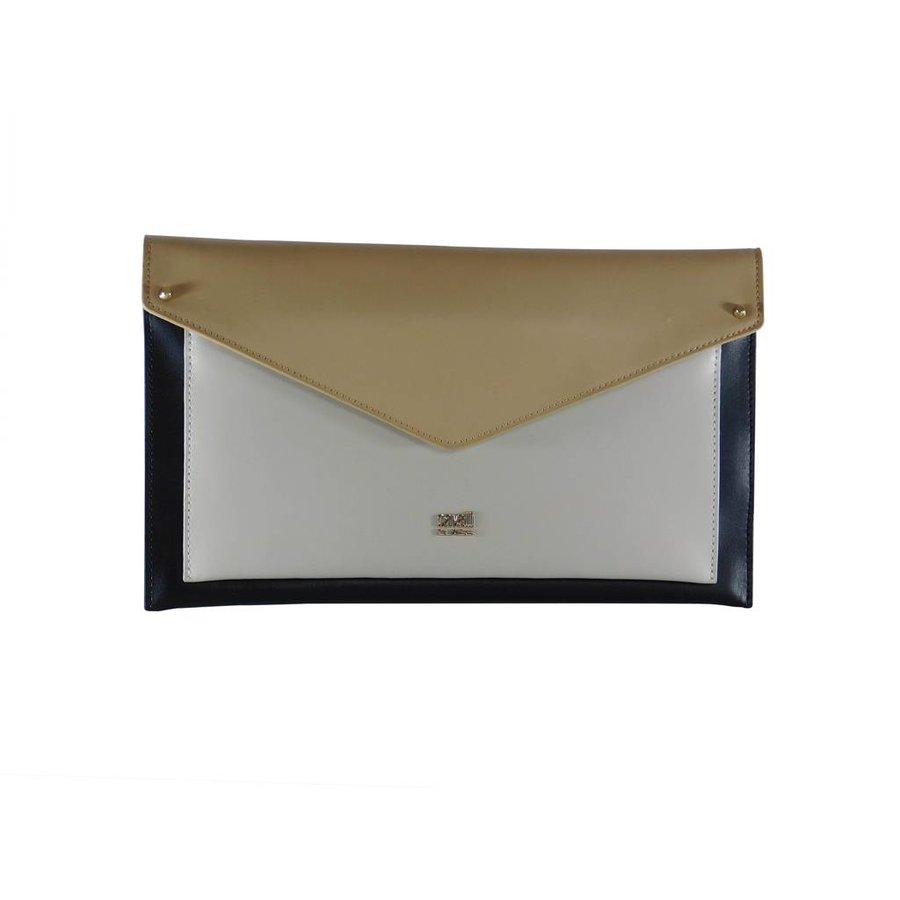 Schwarz/Weiß/Beige Leder Clutches-2