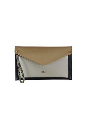 Cavalli Class Schwarz/Weiß/Beige Leder Clutches