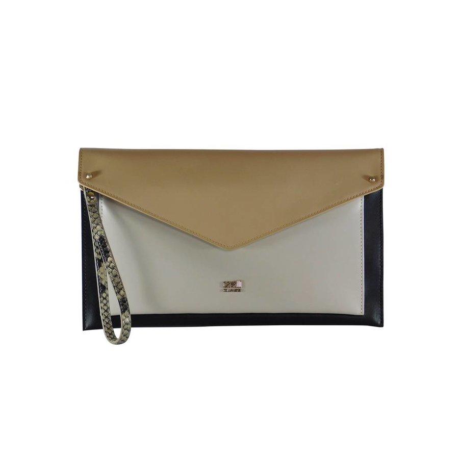 Schwarz/Weiß/Beige Leder Clutches-1