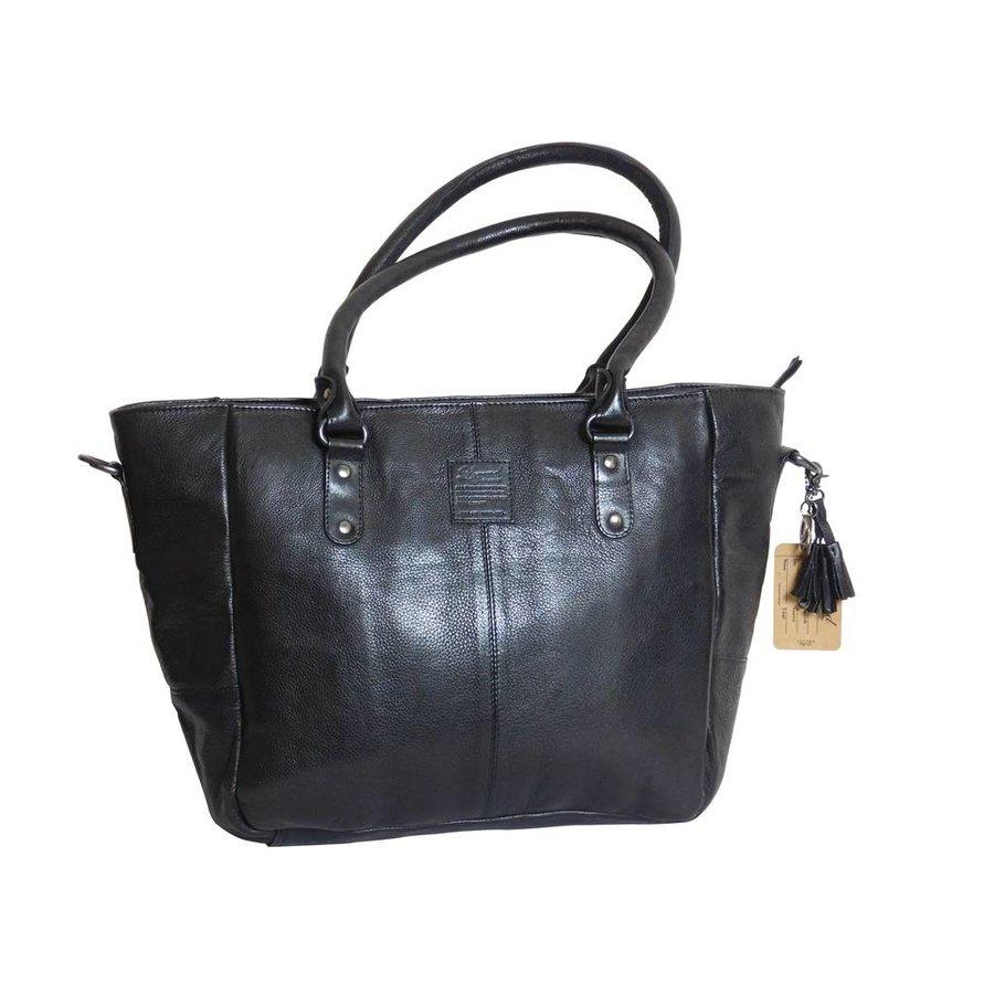 Große Schwarz Leder Handtasche  *Isola*-3