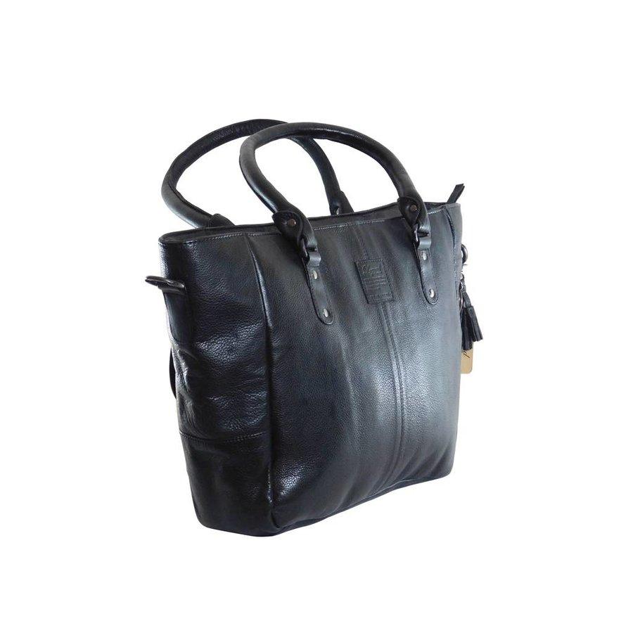 Große Schwarz Leder Handtasche  *Isola*-4