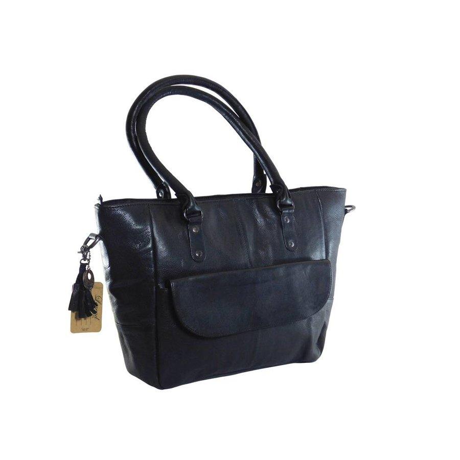 Große Schwarz Leder Handtasche  *Isola*-2