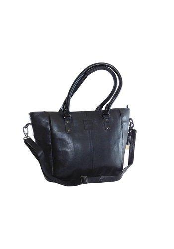 Legend Große Schwarz Leder Handtasche  *Isola*