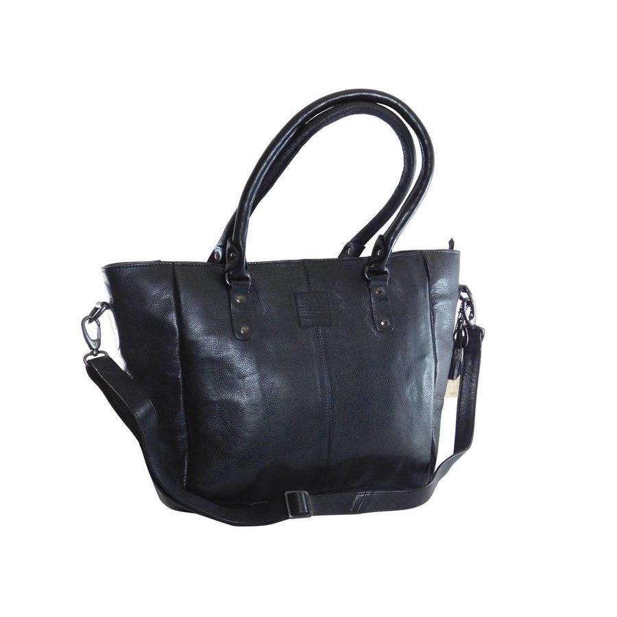 Große Schwarz Leder Handtasche  *Isola*-1