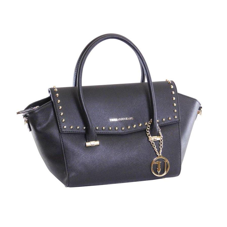 Große Schwarze Saffiano Eco-Leder Handtasche-2
