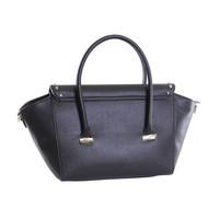 thumb-Große Schwarze Saffiano Eco-Leder Handtasche-3