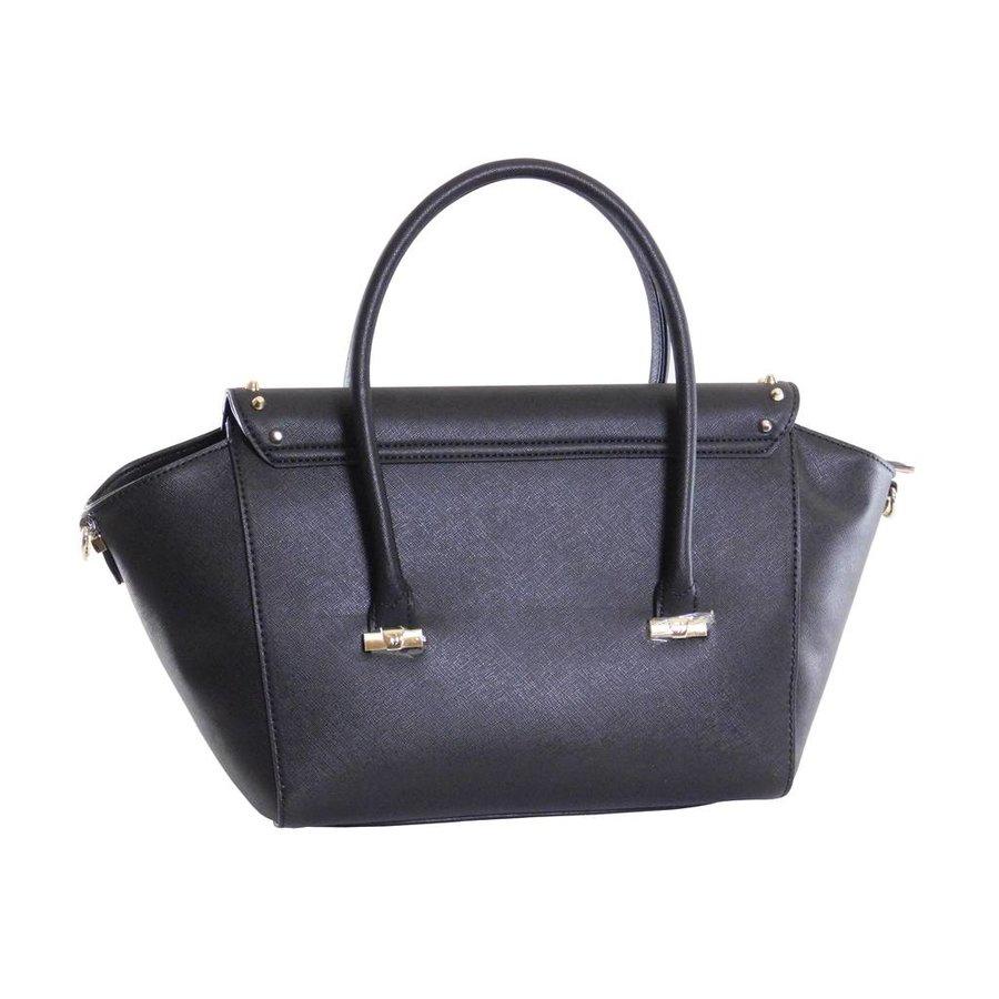 Große Schwarze Saffiano Eco-Leder Handtasche-3