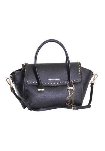 Trussardi Jeans Große Schwarze Saffiano Eco-Leder Handtasche